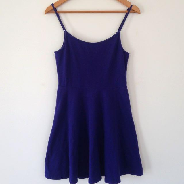 SIZE 8 Navy Blue Strapless Skater Dress