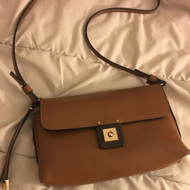 Small Brown Bag With Gold Detailing