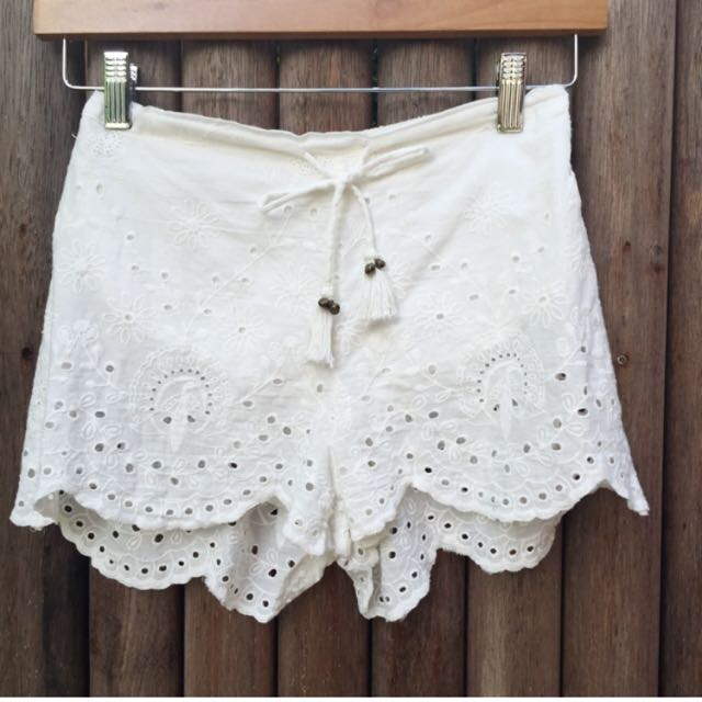Spell & The Gypsy Collective White Boho Shorts