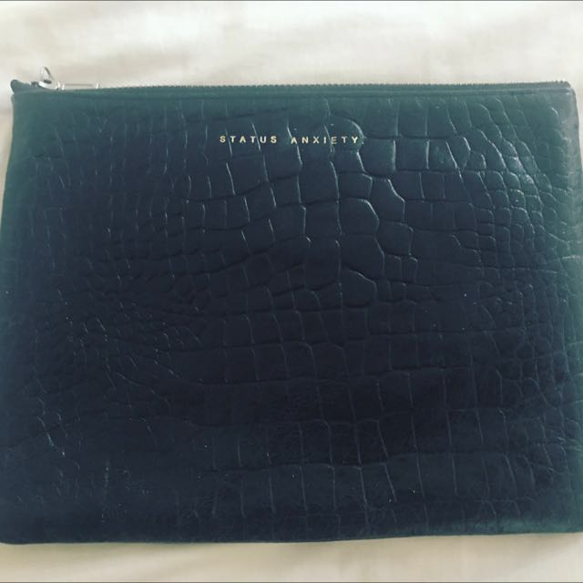 Status Anxiety Croc Black Clutch