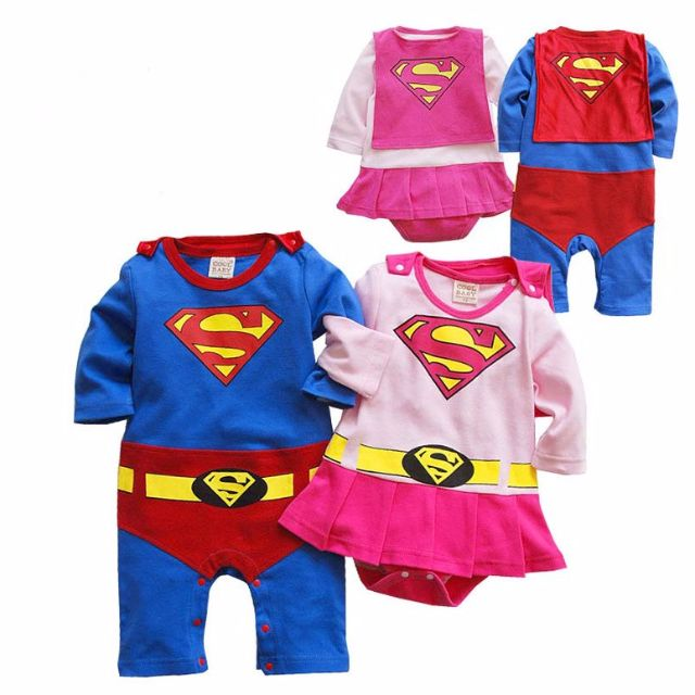 33cd01a53 Superboy and Supergirl Costumes Outfit Romper Dress One-Piece Suit ...
