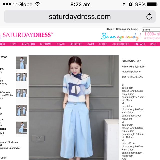 Saturday Dress top and culottes set