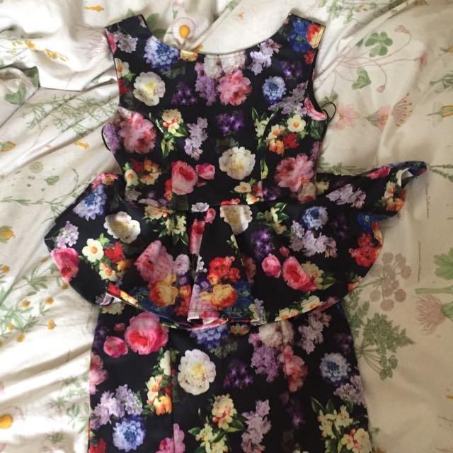 Topshop Flower Peplum Dress