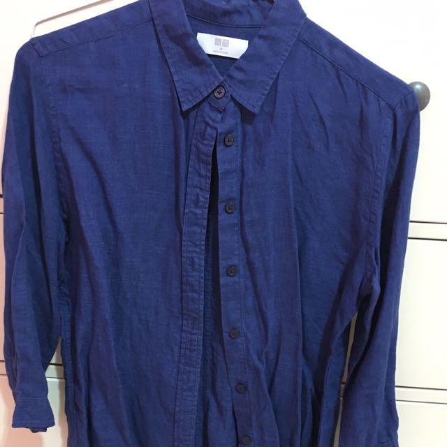 Uniqlo 深藍色簡約襯衫