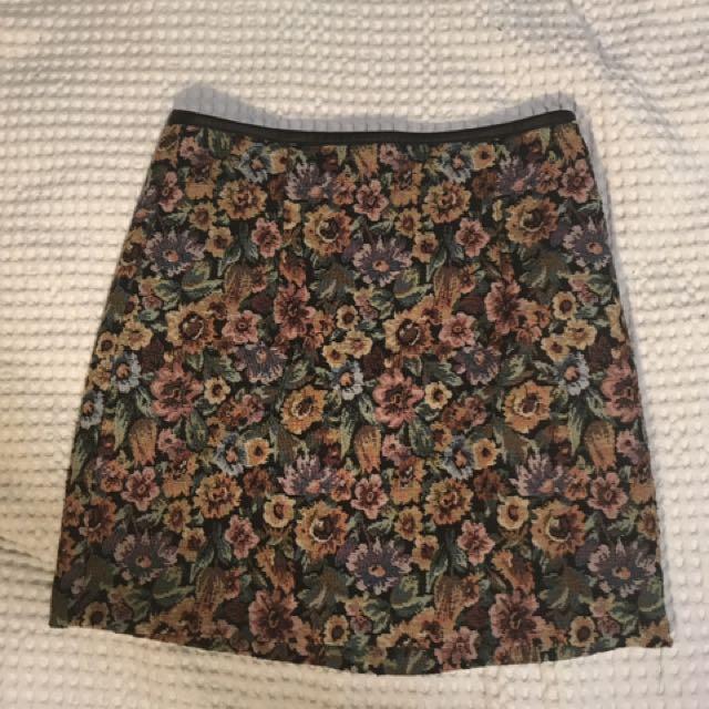 Vintage Flower Pattern Mini Skirt