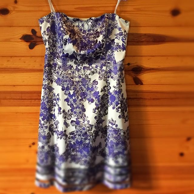 White and Purple 'floral lace' pattern Strapless Dress