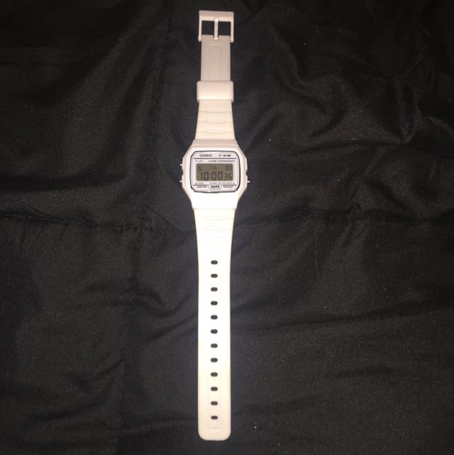 White Casio F-91W Watch
