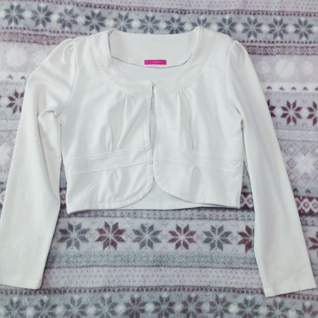 White Crop Cardigan