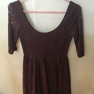 Purple Lace Short Dress