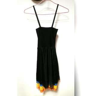 肩帶平口黑洋裝