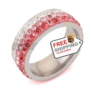 Czech Crystal Rings Stainless Steel for Women and Girl + Free shipping