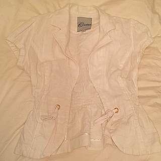 Guess 100% Linen White Cap Sleeve Blazer