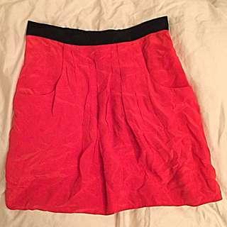BCBG 100% Silk Poppy Red Skirt