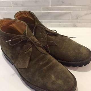 Salvatore Ferragamo Olive Suede Desert Boots