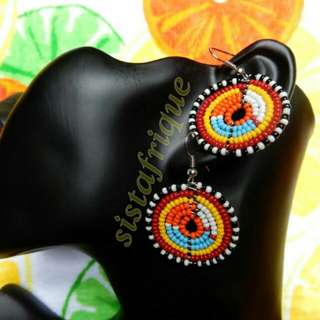 Multicolor disc shape beaded earrings/ Ethnic jewellery/ Masai bead earrings