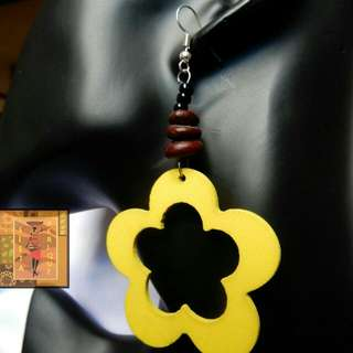 Yellow polished wood black bead and stone dangle earrings/ Yellow flower shape earring