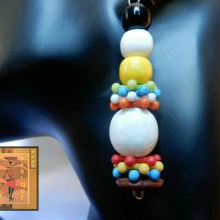 White and yellow wood multicolor earrings