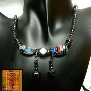 Set of hematite beads necklace + earrings