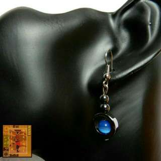 Light blue hematite stone earrings