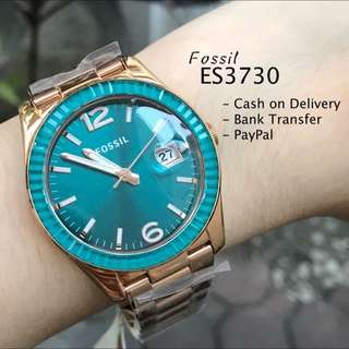 Fossil ES3730 Perfect Boyfriend Turquoise Date Dial Rose Gold Steel Watch