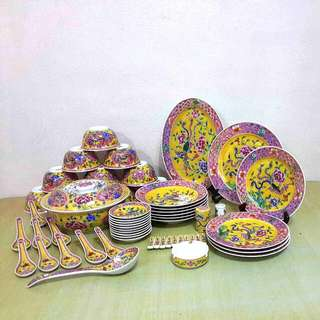 New Peranakan Nyonya Yellow Dinner Plate Set 56pcs