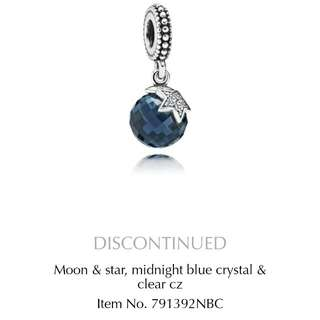 Pre-loved Authentic Pandora Midnight Blue Moon And Star Pendant Charm 791392NBC