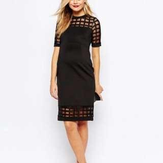 ASOS Maternity PETITE Cage Insert Bodycon Dress (black) size 8