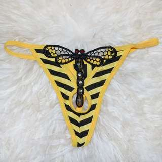 Dragonfly Yellow And Black Stripes Thing T-back Ladies Underwear Size Small