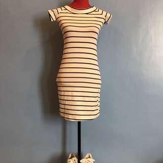 Terranova Bodycon White And Black Striped Dress