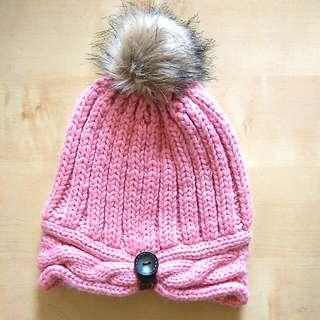 Peach+pink Winter Cap
