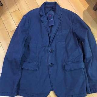 Armani Jeans 全新修身棉質料外套 藍色/卡其色 歐碼:56
