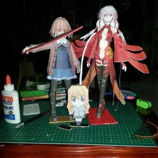 Anime Papercraft ( Mirai Kuriyama, Inori Yuzuriha and Kaori Miyazono)