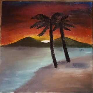 Sunset OIL PAINT (FREE shipping)