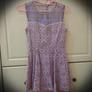 正韓紫色蕾絲珍珠洋裝