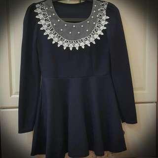 氣質藍珍珠蕾絲洋裝