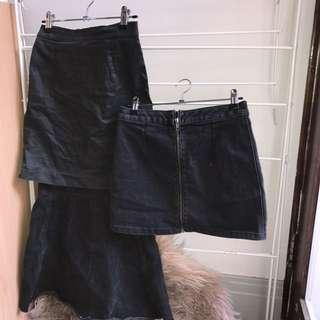 Black Denim Skirts