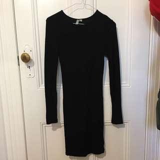 Tight Long Sleeve Black Dress