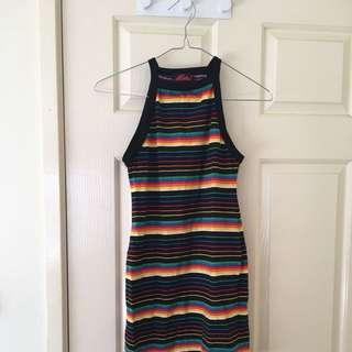 Rainbow Stripe Mini Dress Racer Style Mini XS