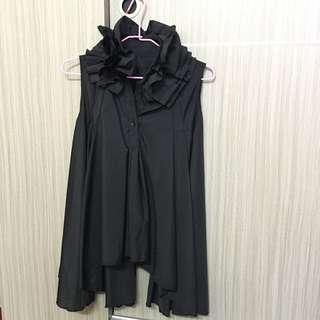 荷葉領/傘狀上衣(黑色)