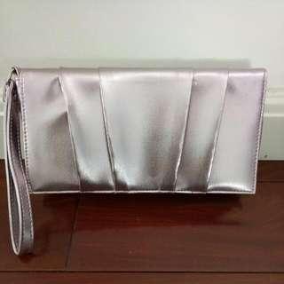 Metallic Baby Pink Womens / Ladies Clutch Handbag Bag