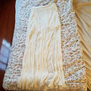 White Boho Maxi Skirt