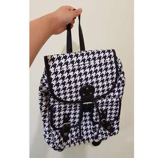 Houndstooth Patterned Backpack