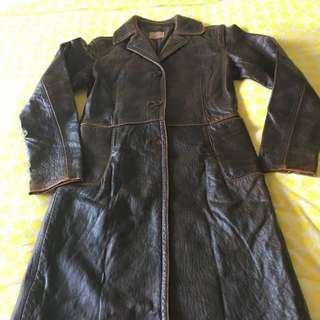 DKNY Distressed Leather Coat