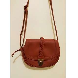 Small Faux Leather Satchel Bag