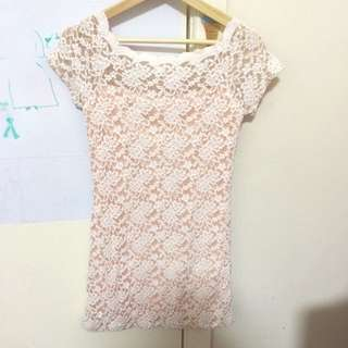 Lace Dress -peach Size 4-6