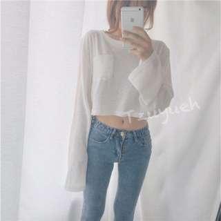 🕊簡約純色長袖短版微透性感打底衫上衣
