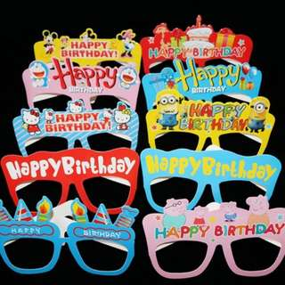 H9- Happy Birthday Cartoon Party Spectacles (10 spectacles in 1 pack) Lots of cute designs
