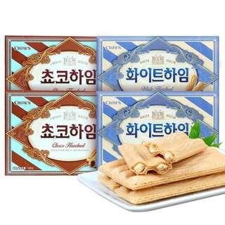 好吃韓國零食 CROWN 巧克力威化餅乾(小份量9包)現貨不用等