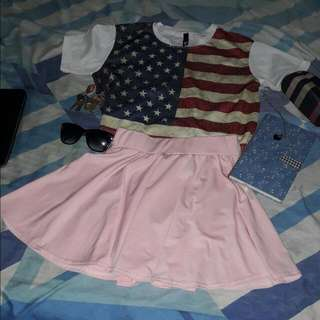 Pink Skater Skirt And Crop Blouse