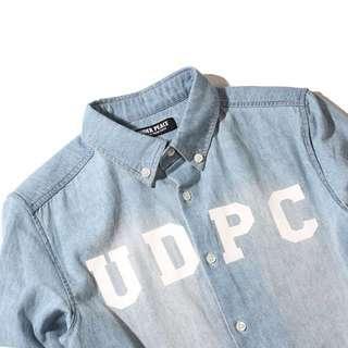 UNDER PEACE拉鍊水洗牛仔襯衫【UDPC ZIPPER WASHED / DENIM SHIRT.LS】
